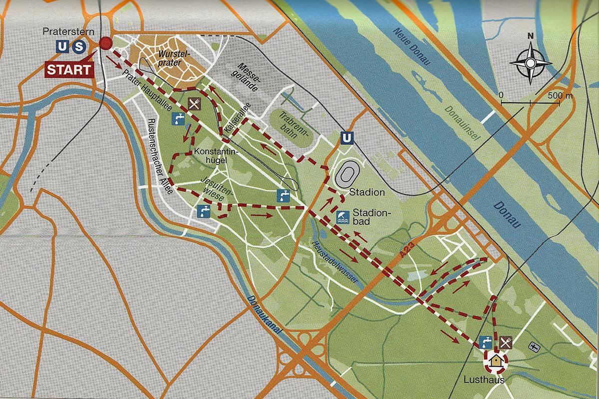 Пример бегового маршрута в Венском Пратере