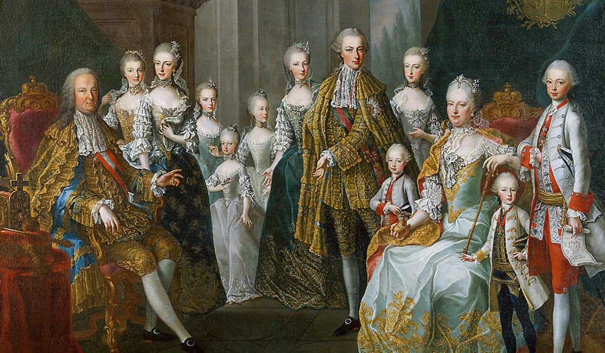 The famous family portrait of Maria Theresia & Franz Stephen painted by M. Maytens