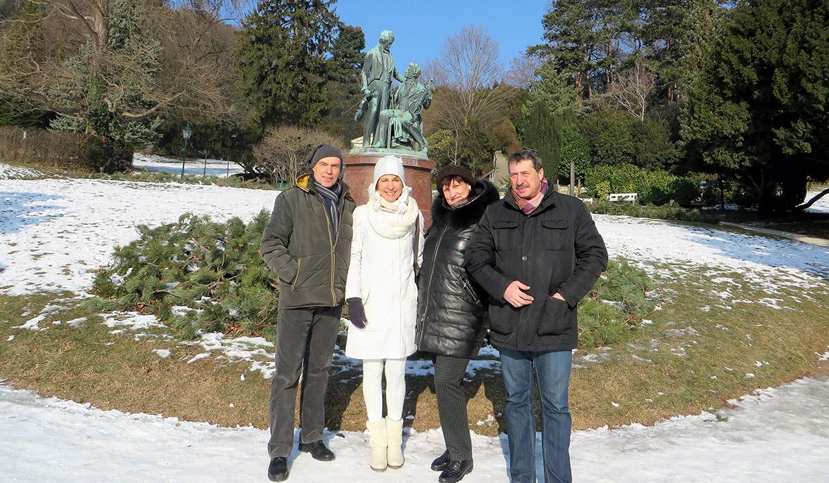 Im Park von Baden, beim Denkmal für Strauß und Lahner